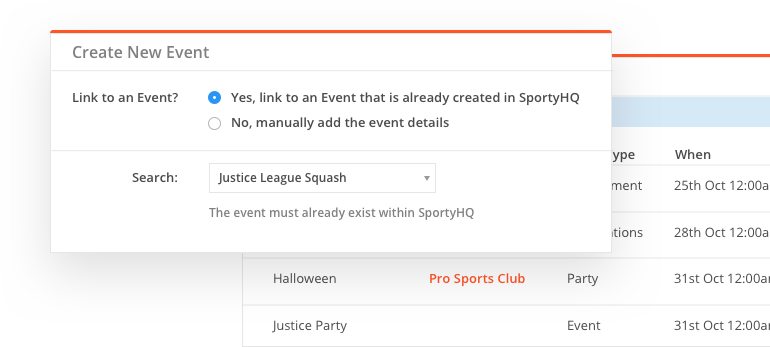sportyHQ Link calendar items to events