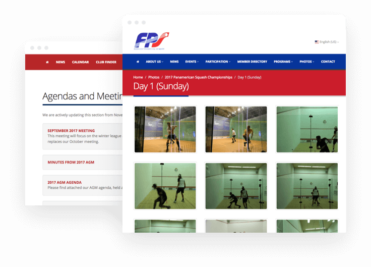 sportyHQ Integrate photos and documents into your website